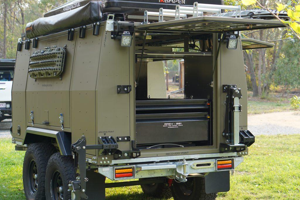 Off Road Camper Trailer Rear Draw System.